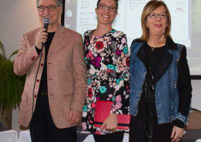 Dr. Cynthia Gariépy and Dr. Marlene Boudreault being introduced by Mr. Gérard Marinovich.