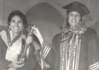 Medicor president Dr. Humaira Khan (left), receiving awards from Prime Minister of Pakistan Benazir Bhutto
