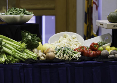 Food table at the cooking demonstration.