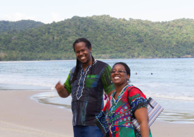 """Dr. Livet"" (Uchenna Hackett) and Dr. Mitchell at the beach"