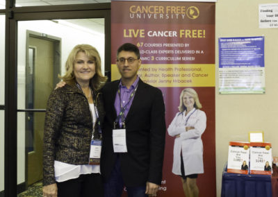 """Dr. Khan with Jenny Hrbacek, RN, author of """"Cancer Free! Are You Sure?""""."""