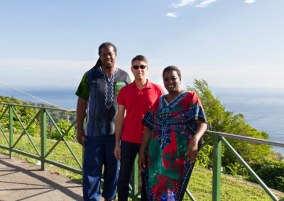 """Dr. Livet"" (Uchenna Hackett), Dr. Khan and Dr. Mitchell sight-seeing in the mountains"